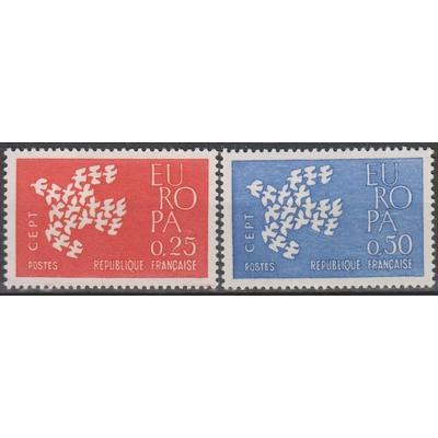 France - Europa - yt.1309/10 neufs ** de 1961 - Cote €1