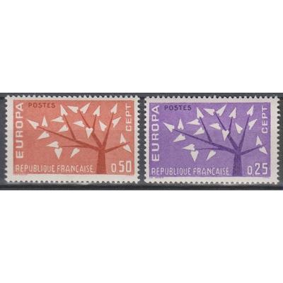 France - Europa - yt.1358/59 neufs ** de 1962 - Cote €1