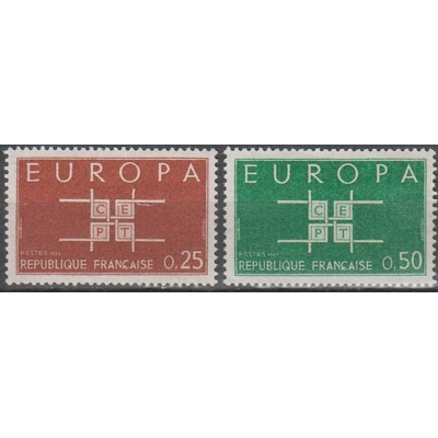 France - Europa - yt.1396/97 neufs ** de 1963 - Cote €1
