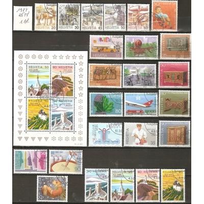 Suisse - Collection de timbres oblitérés de 1987 - Cote €21