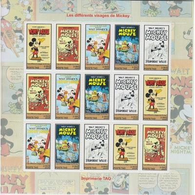 90 ans de Mickey - Feuillet illustré de 3 séries - Territoire Autonome d'Océanie