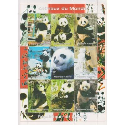Guinée - Pandas - Feuillet neuf ** de 1998