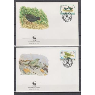 Tristan da Cunha - Série WWF sur FDC de 1991 (2 photos) - Cote €6