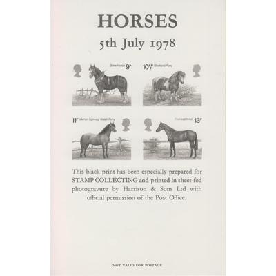 Grande Bretagne - Black print officiel série chevaux de 1978 neuf **