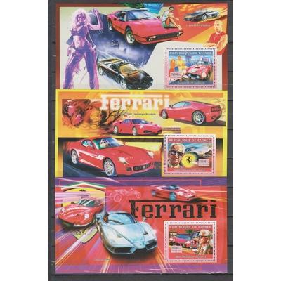 Guinée - Automobiles Ferrari - 3 feuillets différents neufs **