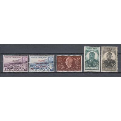 Guyane Française - Lot de timbres de 1944/45 neufs * - Cote €5