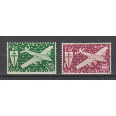 Martinique - Timbres aériens de 1945 neufs * - Cote €2.05