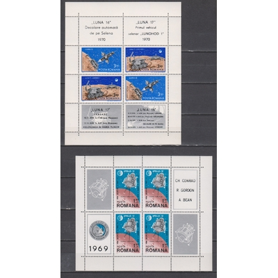 Roumanie - Feuillet sur l'espace de 1969/71 neufs ** - Cote €24