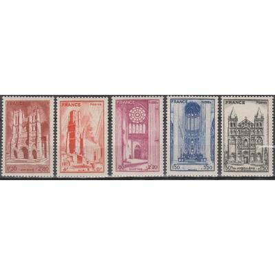 France - Cathédrales - yt.663/67 neufs ** - Cote €5