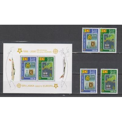 Sir Lanka - 50 ans émissions Europa - Séries + BF neufs ** - Cote €57