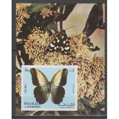 Sharjah - Papillons - Feuillet neuf ** et non dentelé