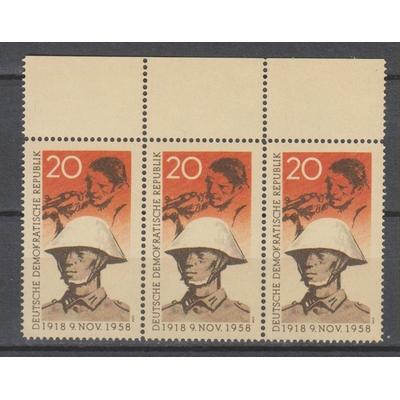 Allemagne orientale - Insurrection - Bande de trois timbres faux du yt.379 neufs ** - Cote €45