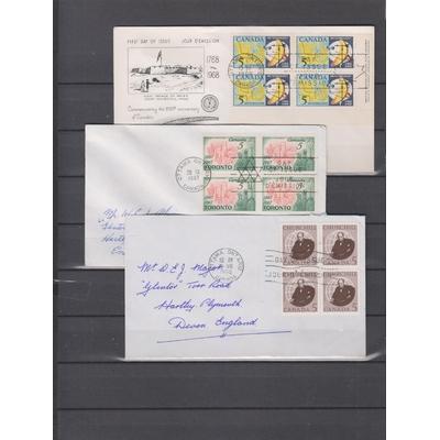 Canada - Enveloppes 1er-jour avec blocs de 4 (4 photos)