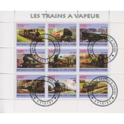 Côte d'Ivoire - Trains - Feuillet oblitéré de 2009