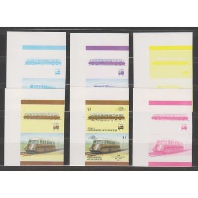 Saint Vincent Grenadines - Essais de couleur sur série de trains - Neufs **
