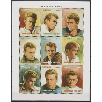 Tanzanie - James Dean - Feuillet neuf ** de 1996 - Cote €15