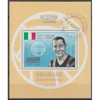 Sharjah - Footballeurs - Feuillet oblitéré de 1968