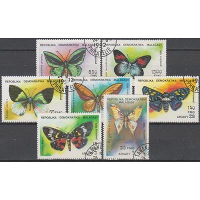 Madagascar - Papillons - yt.1068/74 oblitérés - Cote €2.70