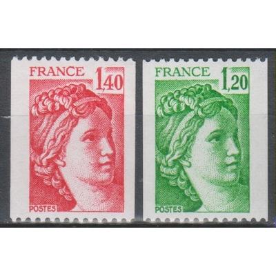 France - Sabine ex-roulettes - yt.2103/04 neufs ** - Cote €1.80