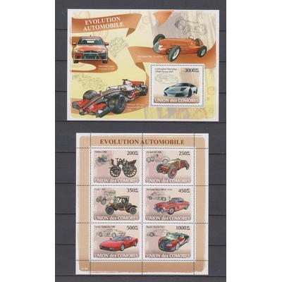 Comores - Evolution automobile - Série et feuillet neufs ** de 2008