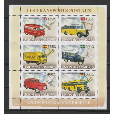 Comores - Transports postaux - Feuillet neuf ** de 2008
