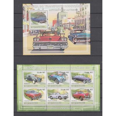 Mozambique - Automobiles anciennes - 2 feuillets neufs ** - Cote €34