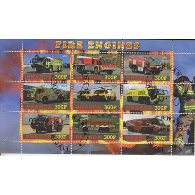 Rwanda - Sapeurs Pompiers - Feuillet oblitéré de 9 valeurs de 2010