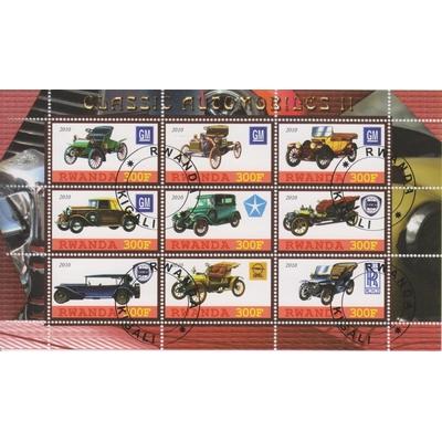 Rwanda - Automobiles anciennes - Feuillet de 9 valeurs oblitérées de 2010