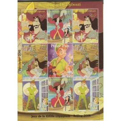 Djibouti - Peter Pan / Disney - Feuillet de 9 valeurs de 2008