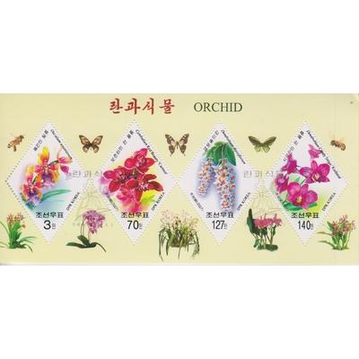 Corée du Nord - Orchidées - Feuillet de 2008 oblitéré - Cote €4.50