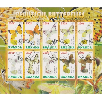 Rwanda - Papillons - Feuillet de 10 valeurs oblitéré de 2010