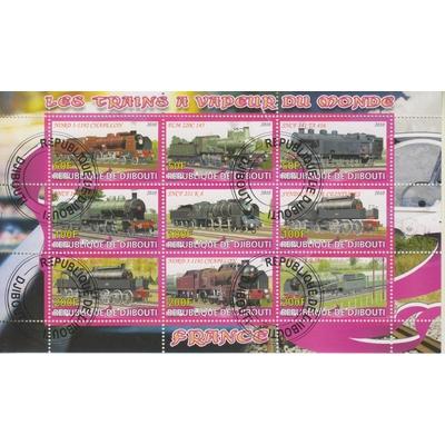 Djibouti - Trains du monde - Feuillet de 9 valeurs de 2010