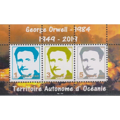 George Orwell - 1949-2019 - Feuillet neuf ** - Territoire Autonome d'Océanie
