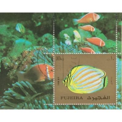 Fujeira - Poissons exotiques - Feuillet oblitéré