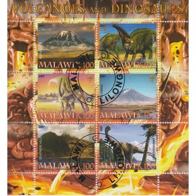 Malawi - Volcans et dinosaures - Feuillet de 2007