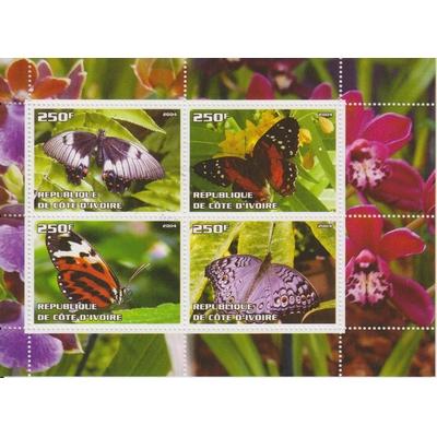 Côte d'Ivoire - Papillons - Feuillet de 2004