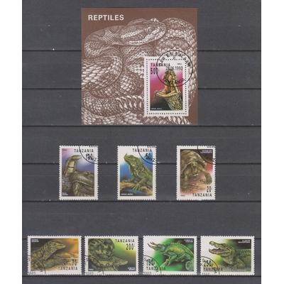 Tanzanie - Reptiles - Série et bloc neufs ** - Cote €10