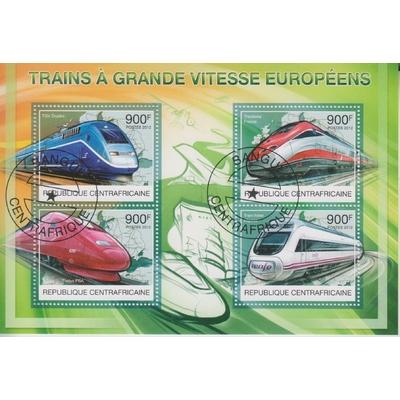 Centrafricaine - Trains à grande vitesse - Feuillet de 2012