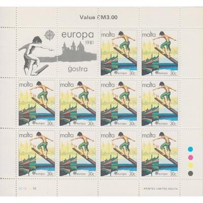 Malte - Europa - Feuillet de 10 neuf ** - cote €22.50