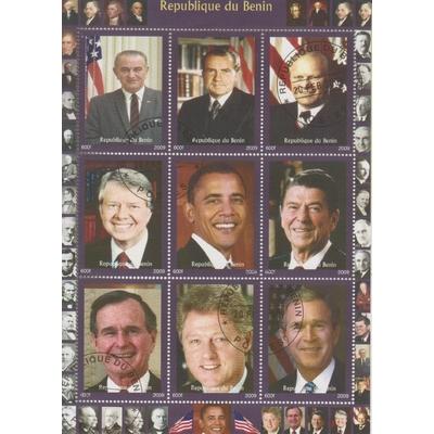 Bénin - Présidents américains - Feuillet de 2009