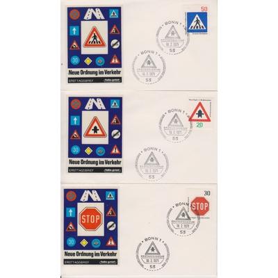 Allemagne - Sécurité routière - 3 FDC différents de 1971