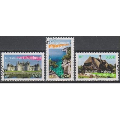 France - Timbres portraits de régions - 3 timbres belles oblitérations rondes - Cote €2,10
