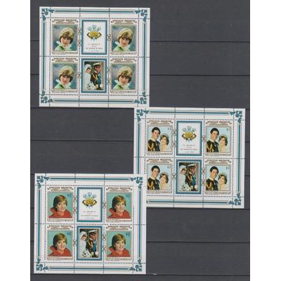 Aitutaki - Lady-Di - Feuillets de 4 neufs ** - Cote €36