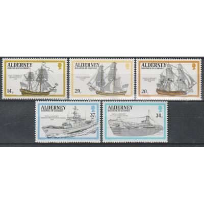 Alderney - Bateaux - yt.43/47 neufs ** - Cote €8