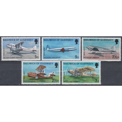Guernesey - Aviation - yt.74/78 neufs ** - Cote €3