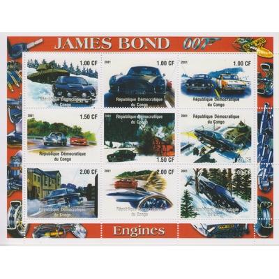 Congo - James Bond - Feuillet de 2001