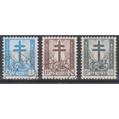 Belgique - Surtaxes - yt.930+932/33 de 1953 - Cote €3.20
