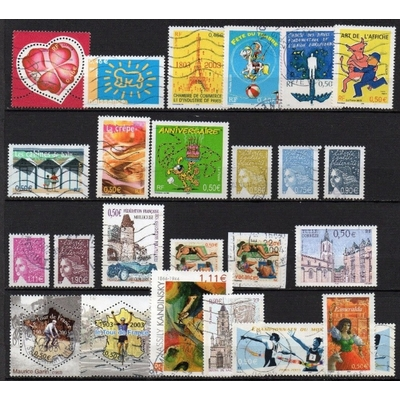 France - Collection de timbres oblitérés de 2003 (2 photos) - Cote €26