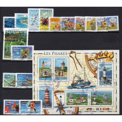 France - Collection de timbres oblitérés de 2007 (2 photos) - Cote €34