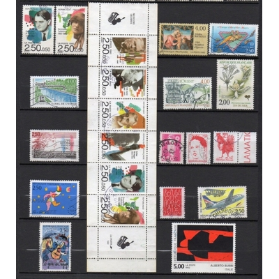 France - Collection de timbres oblitérés de 1992 (2 photos) - Cote €25